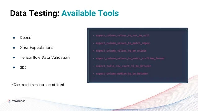 ● Deequ ● GreatExpectations ● Tensorflow Data Validation ● dbt Data Testing: Available Tools * Commercial vendors are not ...