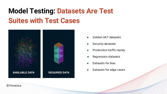 Model Testing: Datasets Are Test Suites with Test Cases ● Golden UAT datasets ● Security datasets ● Production traffic rep...