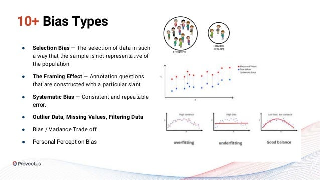 10+ Bias Types ● Selection Bias — The selection of data in such a way that the sample is not representative of the populat...