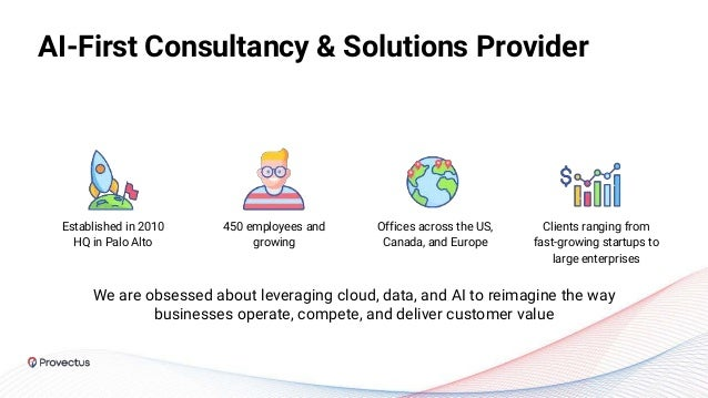 AI-First Consultancy & Solutions Provider Сlients ranging from fast-growing startups to large enterprises 450 employees an...