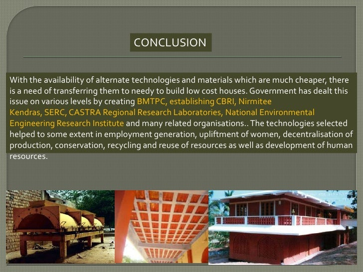 Cost effective and alternate construction techniques for Low cost housing construction techniques