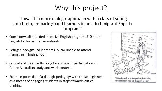 Towards a more dialogic approach with a class of young adult refugee learners in an adult migrant English program. Slide 2