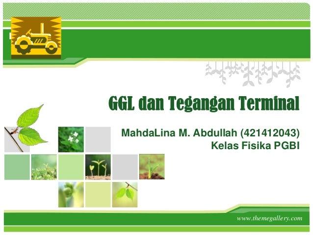 L/O/G/O GGL dan Tegangan Terminal MahdaLina M. Abdullah (421412043) Kelas Fisika PGBI www.themegallery.com