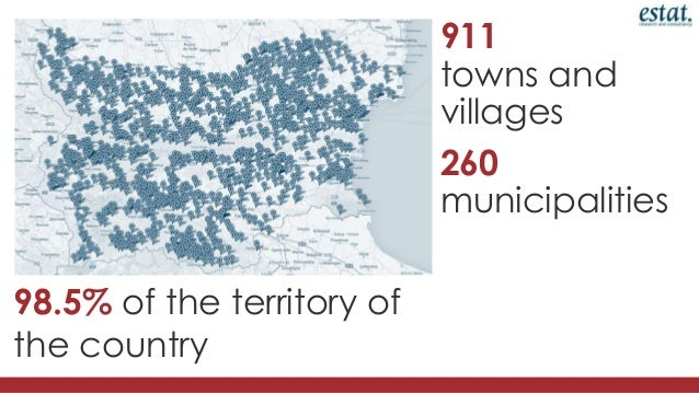 911 towns and villages 260 municipalities  98.5% of the territory of the country