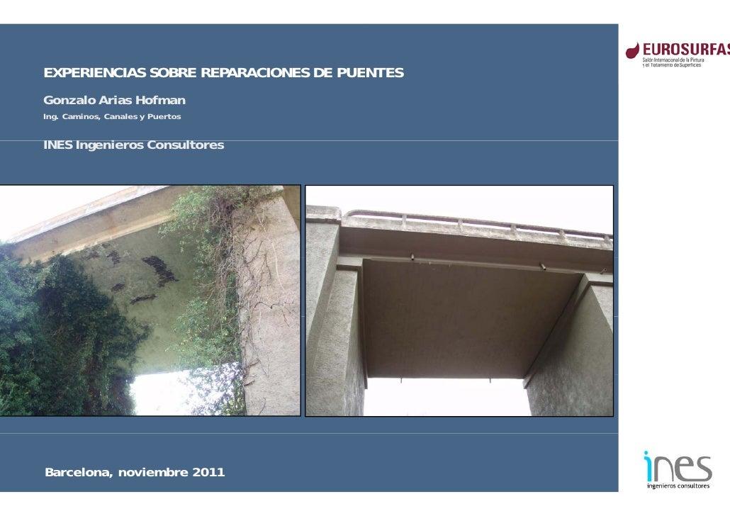 EXPERIENCIAS SOBRE REPARACIONES DE PUENTESGonzalo Arias HofmanIng. Caminos, Canales y PuertosINES I     Ingenieros C      ...