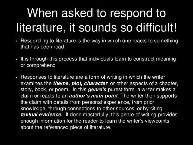 Response to Literature PowerPoint Presentation, PPT - DocSlides