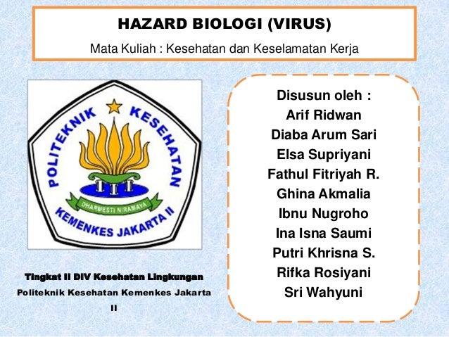 HAZARD BIOLOGI (VIRUS) Mata Kuliah : Kesehatan dan Keselamatan Kerja  Tingkat II DIV Kesehatan Lingkungan Politeknik Keseh...