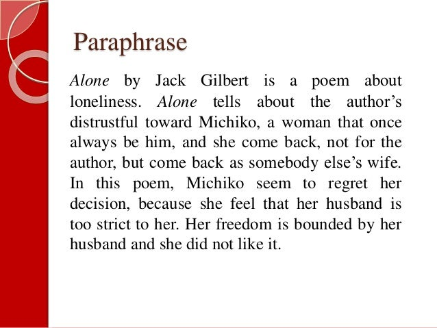 """IMAGERY AND DICTION OF JACK GILBERT """"ALONE"""""""