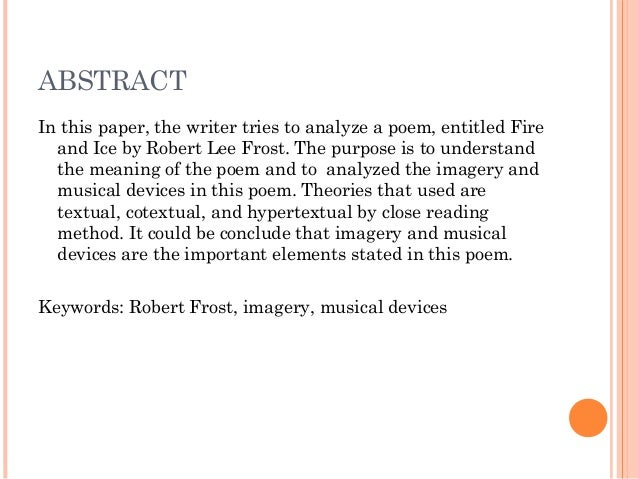 an analysis of the different interpretations in fire and ice by robert frost