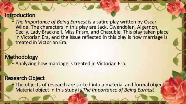 the importance of being victorian oscar Kodaikanal christian college students brought the victorian society to life by  staging oscar wilde's the importance of being earnest.