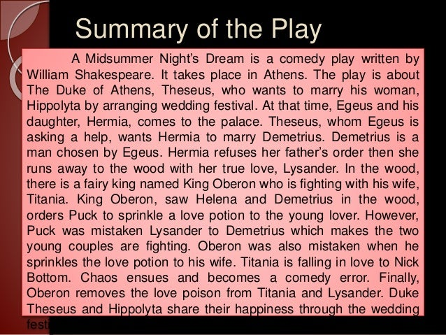 a midsummer night's dream shakespeare summary