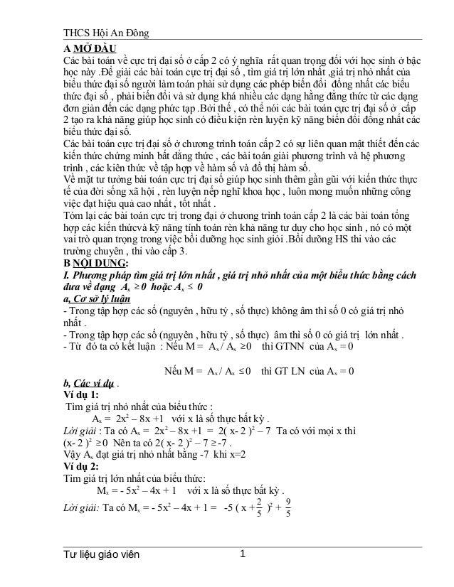 THCS Hội An Đông A MỞ ĐẦU Các bài toán về cực trị đại số ở cấp 2 có ý nghĩa rất quan trọng đối với học sinh ở bậc học này ...