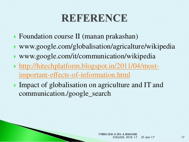 Ppt impact of globalization on agriculture/ Impact of IT & Communicat…