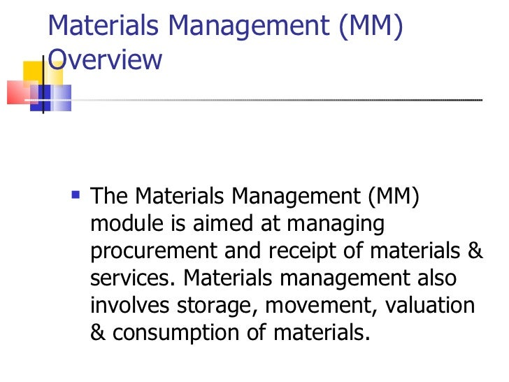 Materials management (mm case study