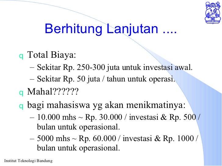 Berhitung Lanjutan .... <ul><li>Total Biaya: </li></ul><ul><ul><li>Sekitar Rp. 250-300 juta untuk investasi awal. </li></u...