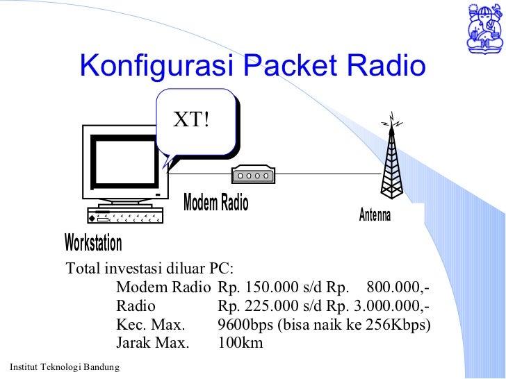 Konfigurasi Packet Radio XT! Total investasi diluar PC: Modem Radio Rp. 150.000 s/d Rp.  800.000,- Radio Rp. 225.000 s/d R...
