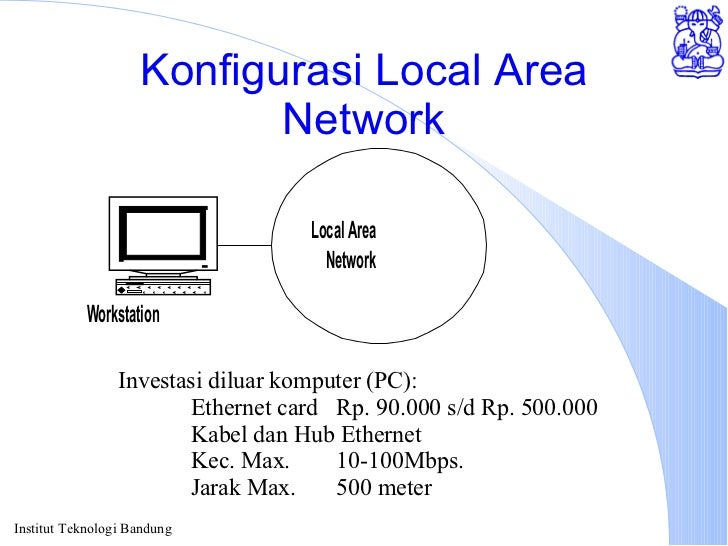 Konfigurasi Local Area Network Investasi diluar komputer (PC): Ethernet card Rp. 90.000 s/d Rp. 500.000 Kabel dan Hub Ethe...