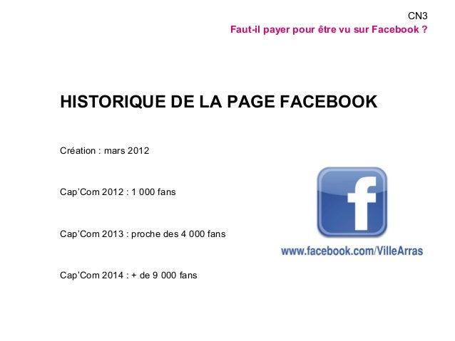 HISTORIQUE DE LA PAGE FACEBOOK  Création : mars 2012  Cap'Com 2012 : 1 000 fans  Cap'Com 2013 : proche des 4 000 fans  Cap...