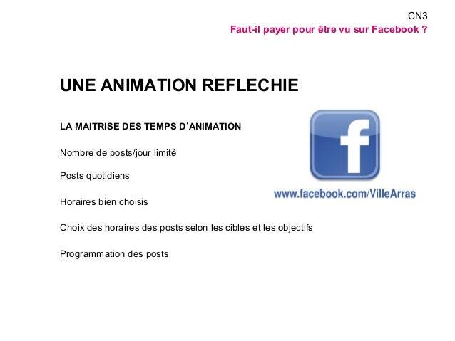 UNE ANIMATION REFLECHIE  LA MAITRISE DES TEMPS D'ANIMATION  Nombre de posts/jour limité  Posts quotidiens  Horaires bien c...