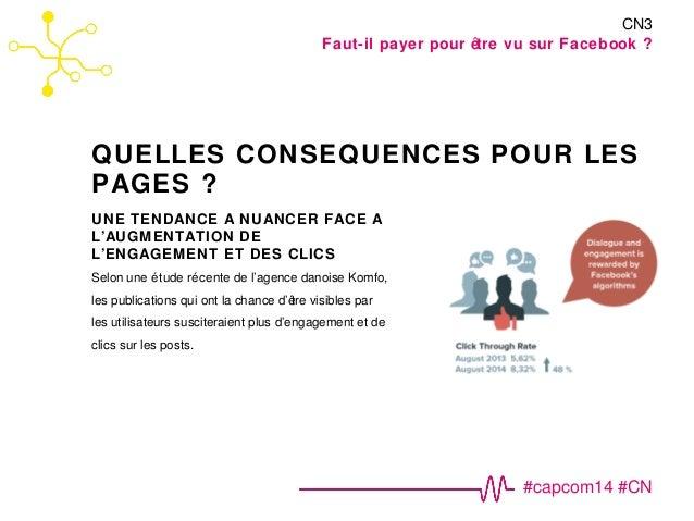 CN3  Faut-il payer pour être vu sur Facebook ?  QUELLES CONSEQUENCES POUR LES  PAGES ?  #capcom14 #CN  UNE TENDANCE A NUAN...