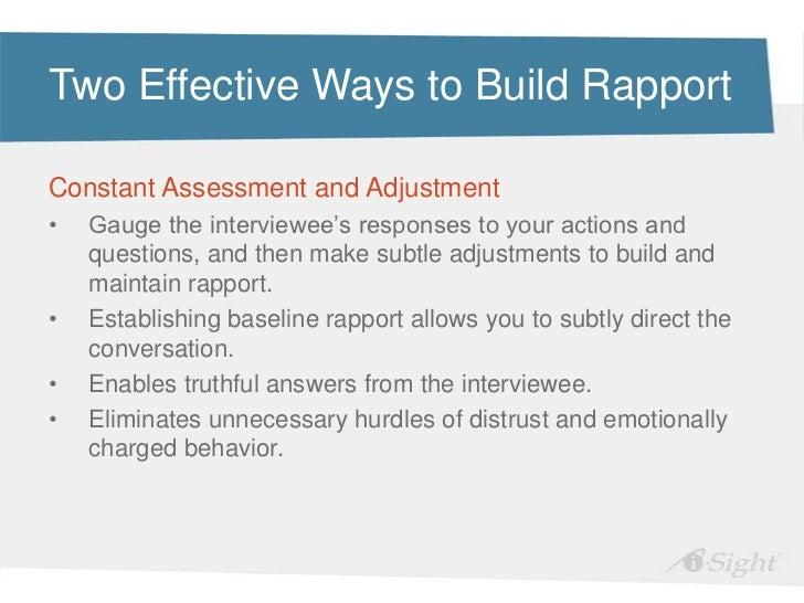 Develop rapport