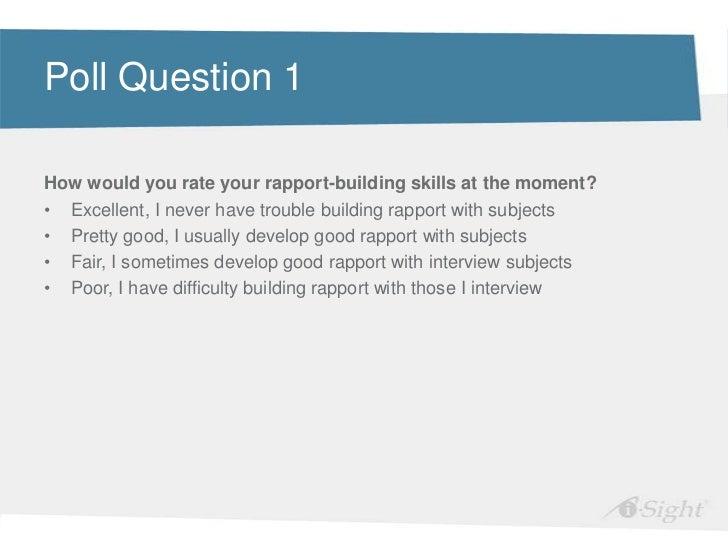 Perfect ... Building Rapportu2022 Questions; 4.