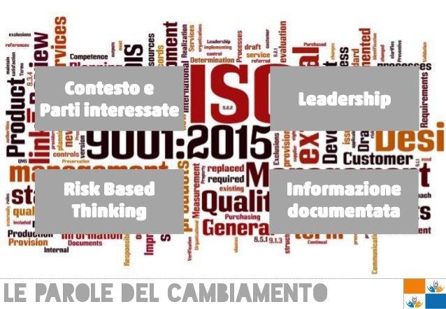 Le parole del cambiamento Contesto e Parti interessate Leadership Risk Based Thinking Informazione documentata