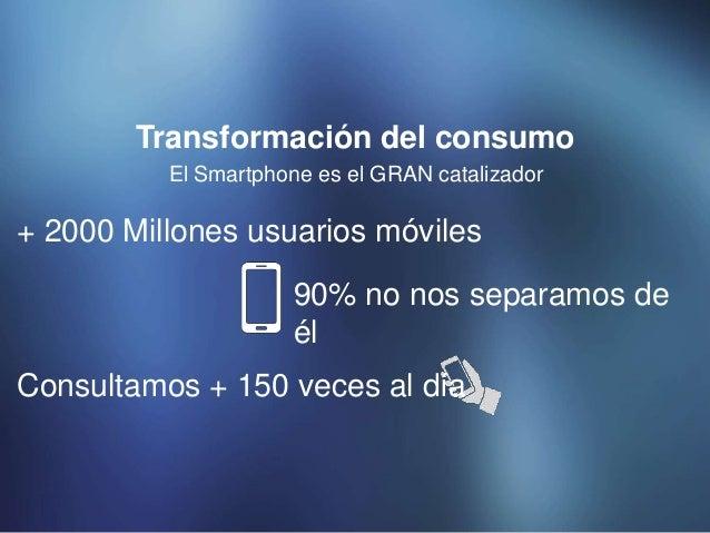 El Smartphone es el GRAN catalizador Transformación del consumo + 2000 Millones usuarios móviles 90% no nos separamos de é...