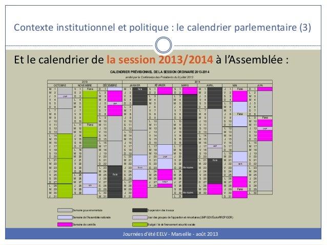 Contexte institutionnel et politique : le calendrier parlementaire (3) Journées d'été EELV - Marseille - août 2013 Et le c...