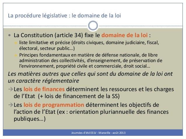 La procédure législative : le domaine de la loi Journées d'été EELV - Marseille - août 2013  La Constitution (article 34)...