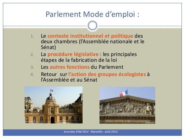 Parlement Mode d'emploi : Journées d'été EELV - Marseille - août 2013 1. Le contexte institutionnel et politique des deux ...