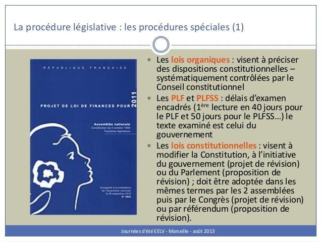 La procédure législative : les procédures spéciales (1) Journées d'été EELV - Marseille - août 2013  Les lois organiques ...