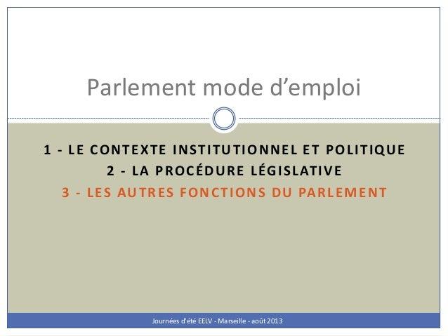 1 - LE CONTEXTE INSTITUTIONNEL ET POLITIQUE 2 - LA PROCÉDURE LÉGISLATIVE 3 - LES AUTRES FONCTIONS DU PARLEMENT Journées d'...