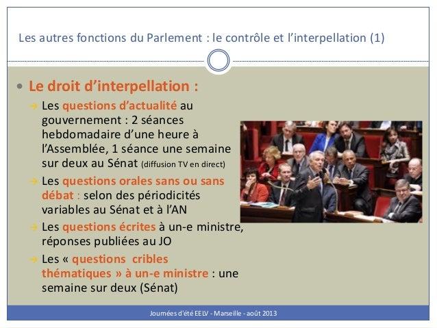 Les autres fonctions du Parlement : le contrôle et l'interpellation (1) Journées d'été EELV - Marseille - août 2013  Le d...