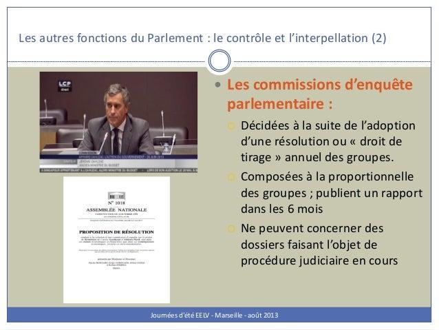Les autres fonctions du Parlement : le contrôle et l'interpellation (2) Journées d'été EELV - Marseille - août 2013  Les ...