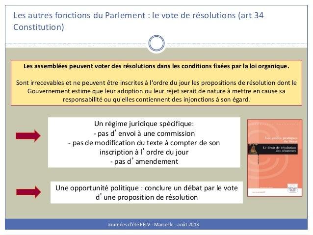 Les autres fonctions du Parlement : le vote de résolutions (art 34 Constitution) Journées d'été EELV - Marseille - août 20...