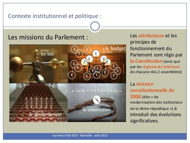 Contexte institutionnel et politique : Journées d'été EELV - Marseille - août 2013 Les missions du Parlement : Les attribu...