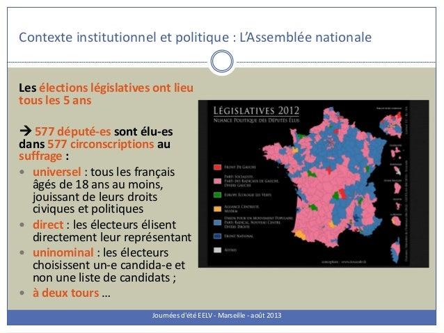 Les élections législatives ont lieu tous les 5 ans  577 député-es sont élu-es dans 577 circonscriptions au suffrage :  u...