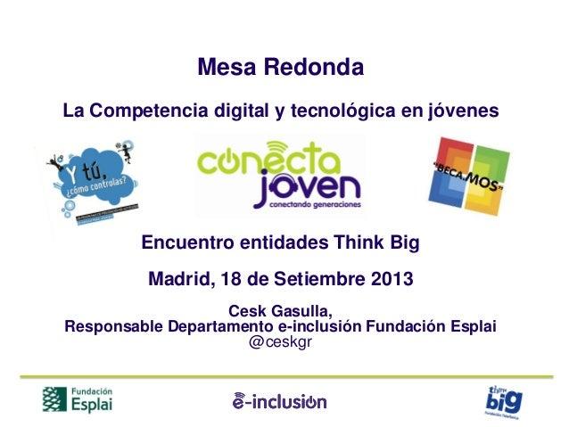 Mesa Redonda La Competencia digital y tecnológica en jóvenes Encuentro entidades Think Big Madrid, 18 de Setiembre 2013 Ce...