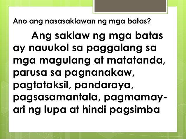 ang mga kaugalian ng mga kabataan Laging itinuturo sa mga kabataan ang paggalang sa mga magulang, lolo at lola,   ang 'direktang kaugaliang pampamilya' sa pagkandili ng mga magulang ay.