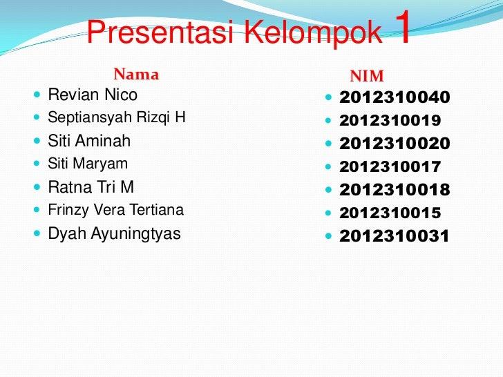 Presentasi Kelompok 1          Nama              NIM Revian Nico             2012310040 Septiansyah Rizqi H     201231...