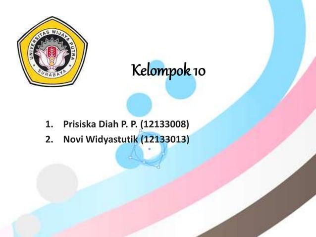 1. Prisiska Diah P. P. (12133008) 2. Novi Widyastutik (12133013) Kelompok 10