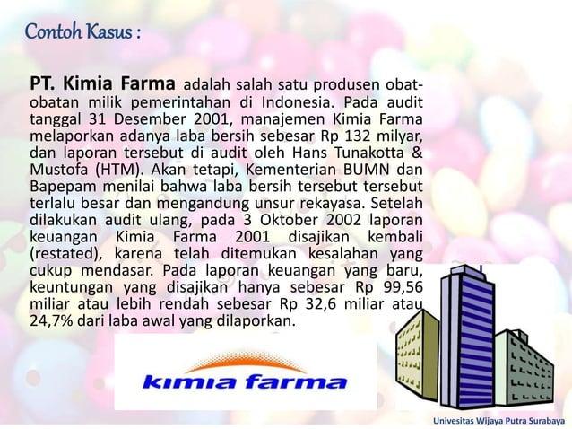 Contoh Kasus : Univesitas Wijaya Putra Surabaya PT. Kimia Farma adalah salah satu produsen obat- obatan milik pemerintahan...
