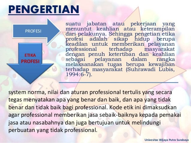 PENGERTIAN Univesitas Wijaya Putra Surabaya PROFESI ETIKA PROFESI system norma, nilai dan aturan professional tertulis yan...