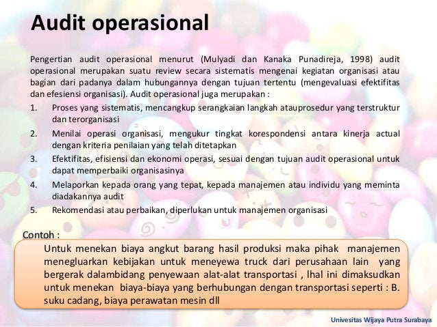 Audit operasional Pengertian audit operasional menurut (Mulyadi dan Kanaka Punadireja, 1998) audit operasional merupakan s...