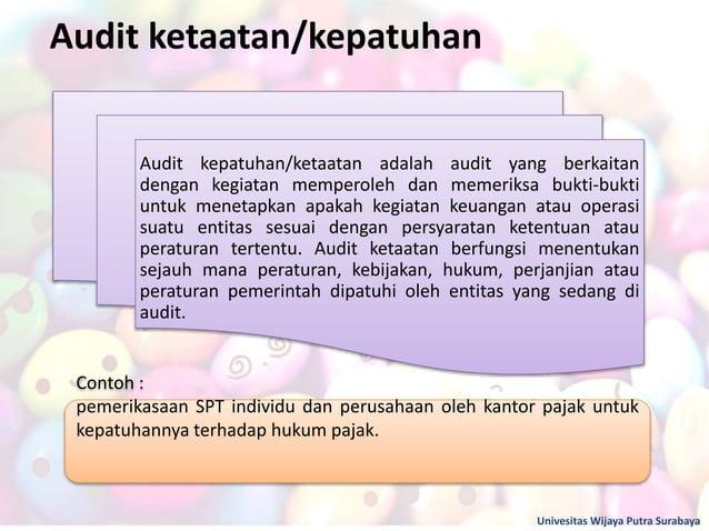 Audit ketaatan/kepatuhan Univesitas Wijaya Putra Surabaya Contoh : pemerikasaan SPT individu dan perusahaan oleh kantor pa...