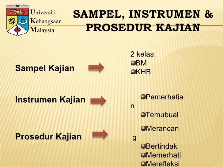 U niversiti K ebangsaan M alaysia SAMPEL, INSTRUMEN & PROSEDUR KAJIAN Sampel Kajian Instrumen Kajian <ul><li>2 kelas: </li...