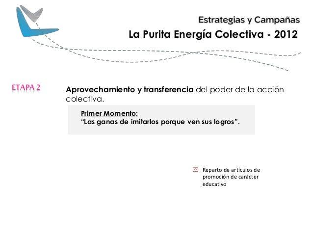 Aprovechamiento y transferencia del poder de la acción colectiva. ETAPA2 La Purita Energía Colectiva - 2012 Primer Momento...