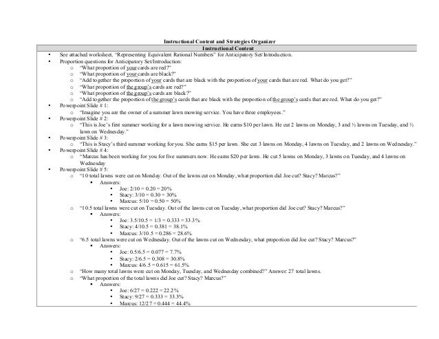 """Instructional Content and Strategies Organizer Instructional Content • See attached worksheet, """"Representing Equivalent Ra..."""