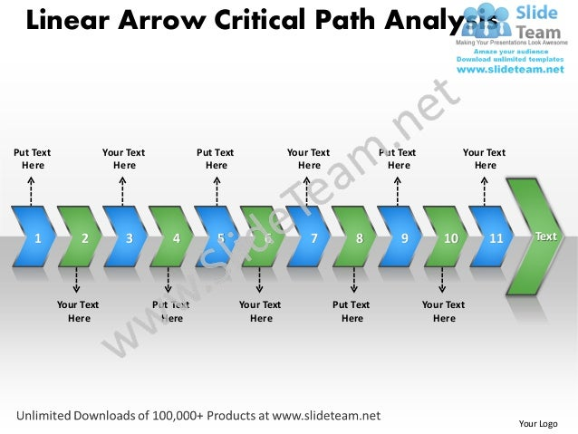 Ppt linear arrow critical path analysis business power point templates – Critical Path Method Template